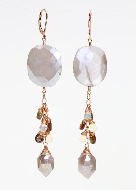 Grey Moonstone, Ethiopian Opal & Zircon Earrings