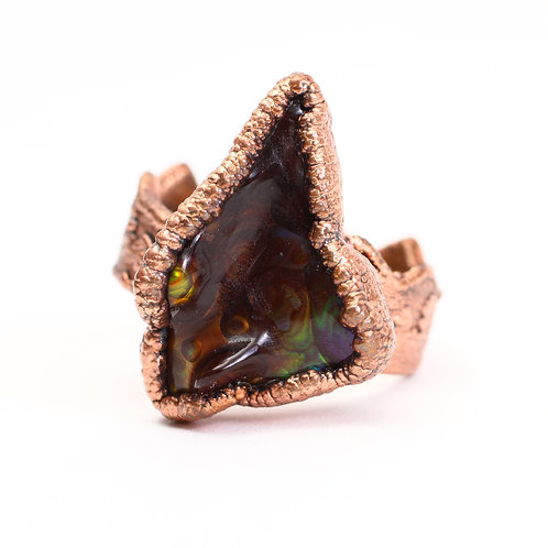 Copper Electroformed Fire Agate Ring