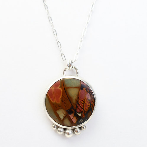 Red Creek Jasper Round Pendant with Silver Ball Accents