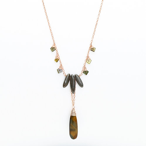 Lariat Drop Necklace with Tiger Eye, Pyrite, & Green Tourmaline