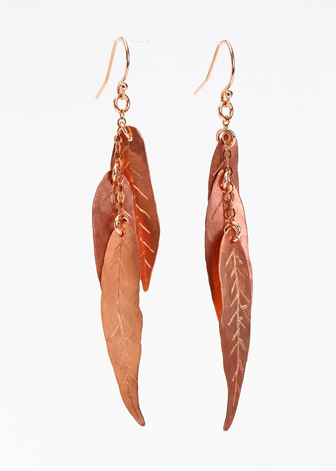Hand Sawn Copper Willow Leaf Earrings
