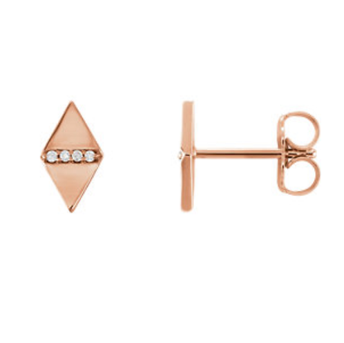 14K Diamond Geometric Post Earrings