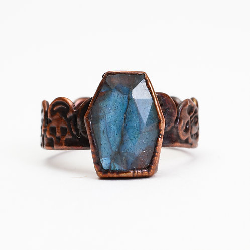 Copper Electroformed Coffin Cut Labradorite Ring