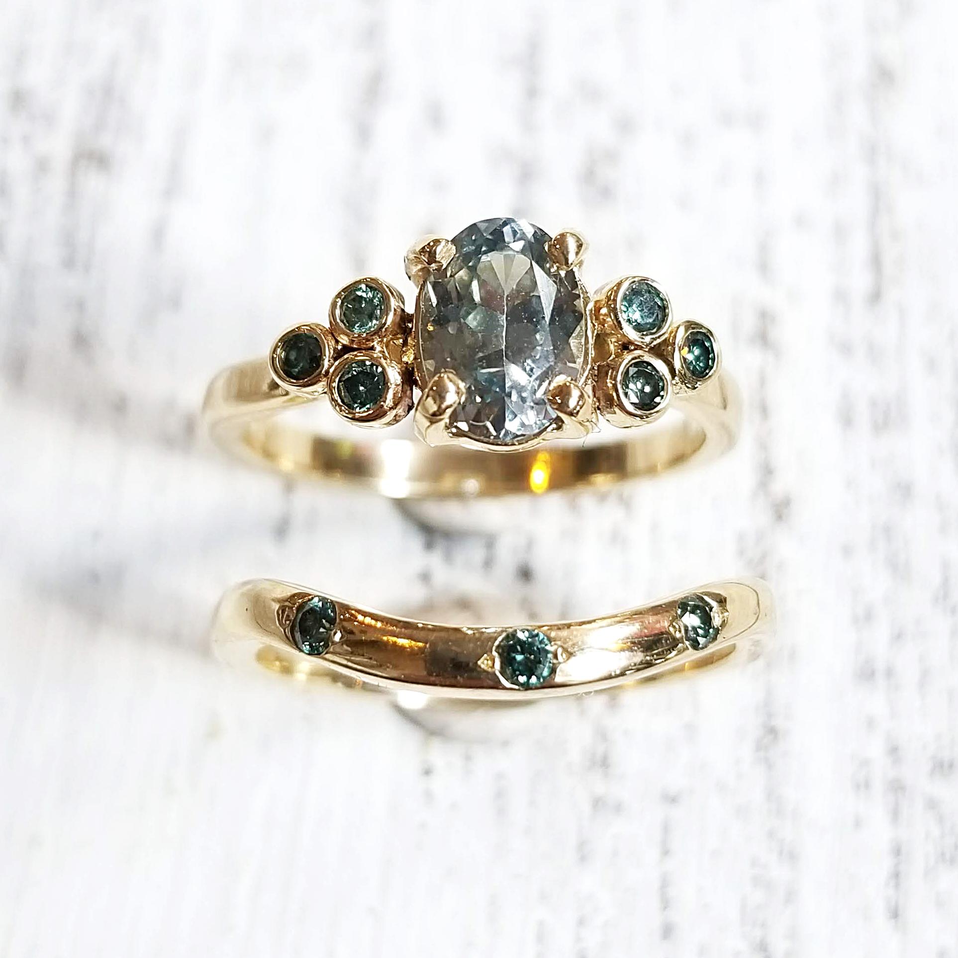 Montana Sapphire & Blue Diamond Ring
