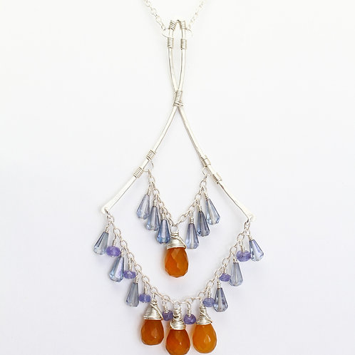 Pendant Necklace w/ Orange Chalcedony, Blue Quartz & Tanzanite