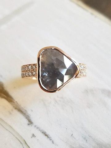 Grey Diamond Slice Ring