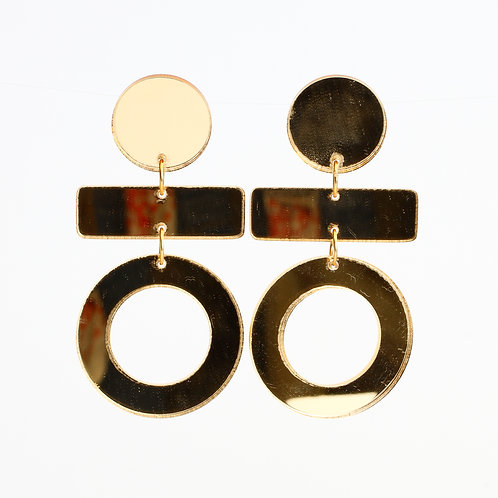 Olive Earrings - Gold Mirror