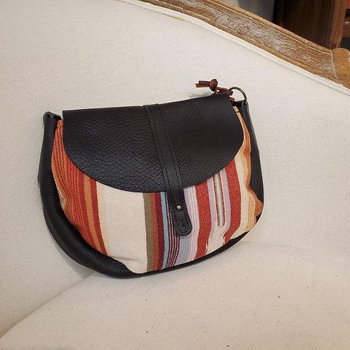 "Rosa - Black ""Serape Cream"" Leather Cross Body Bag"