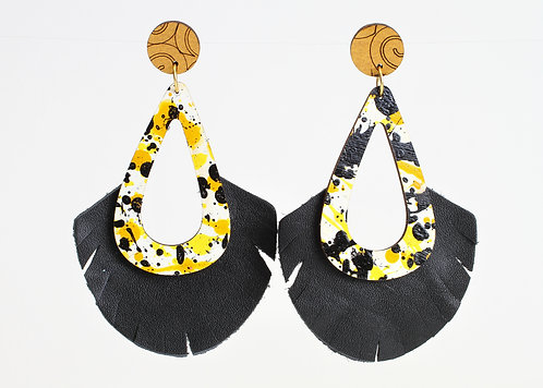 Madeline Earring - Game Day - Black Yellow Gold