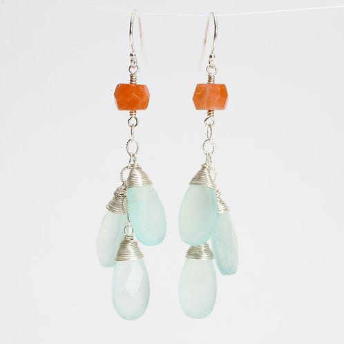 Dangle Earrings w/ Mint Chalcedony & Sunstone