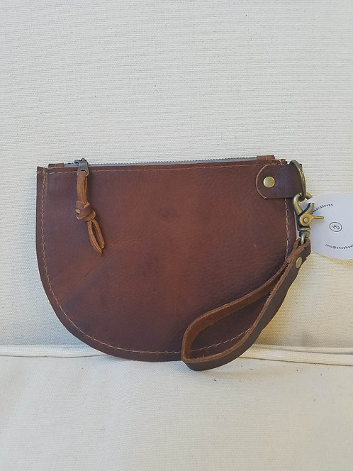 Brown Half Moon Leather Pouch with Wristlet