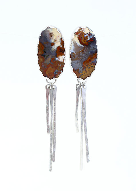 Red Palm Root Earrings with Hammered Bar Dangles