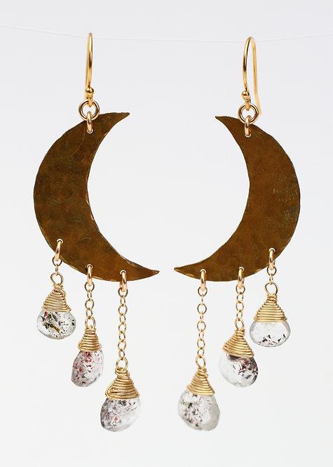 Brass Moon Dangle Earrings with Quartz