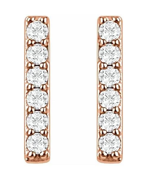 14K Gold Diamond Bar Stud Earrings