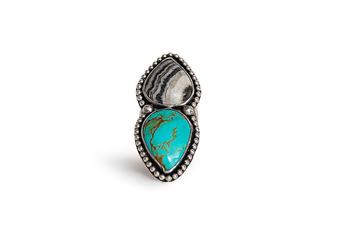 Turquoise and Banded Calcite Ring