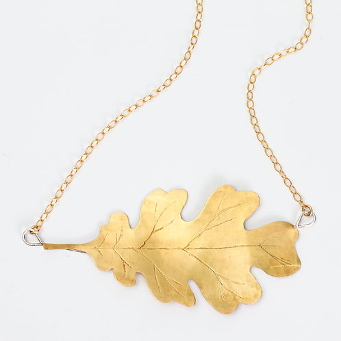 Hand Sawn Oak Leaf Necklace