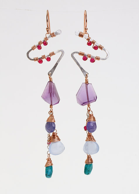 Earrings with Rhodolite Garnet, Amethyst, Tanzanite, Blue Chalcedony & Turquoise