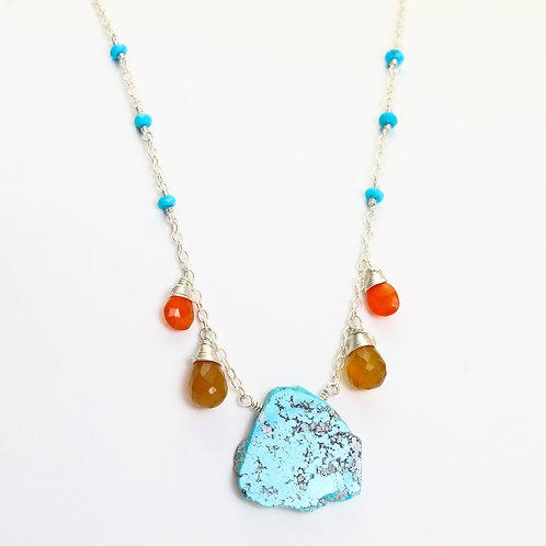 Turquoise, Orange Chalcedony & Carnelian Necklace