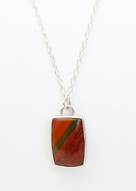 Red Creek Jasper Necklace with Oak Leaf Cut-out on back