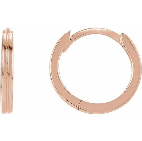 14K Rose Grooved 10.3 mm Huggie Hoop Earrings
