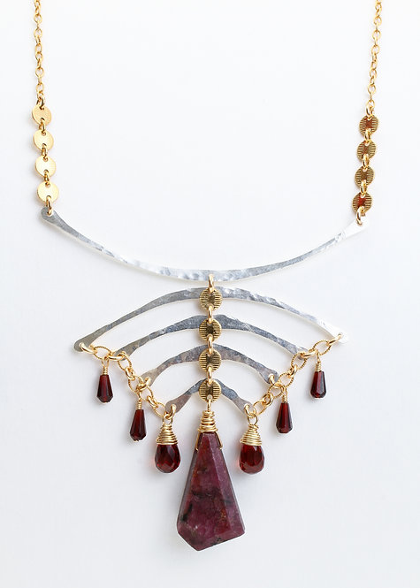 Horseshoe Crab Necklace with Natural Ruby & Garnet