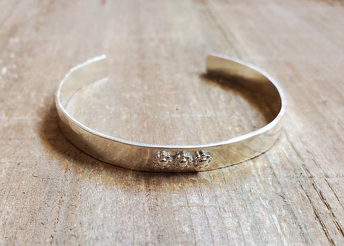 Sterling Silver Hammered Cuff Bracelet with 3 Daisy Accents