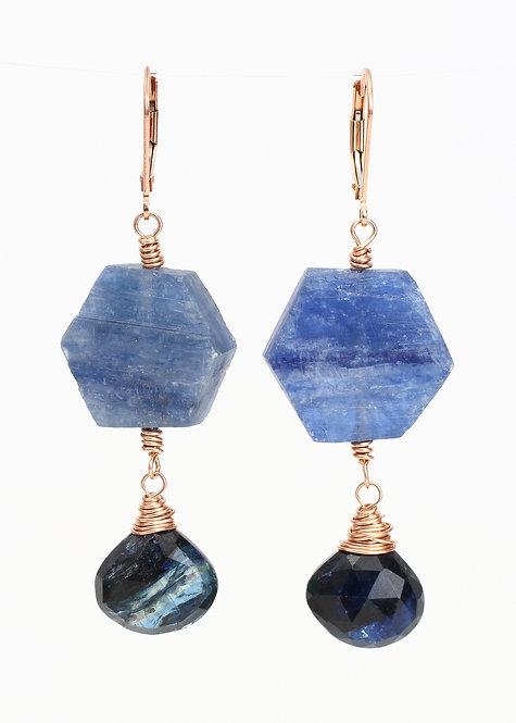 Kyanite Hexagon with Kyanite Dangle Earrings