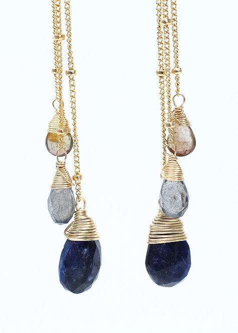 Accented Chain Dangle Gemstone Earrings