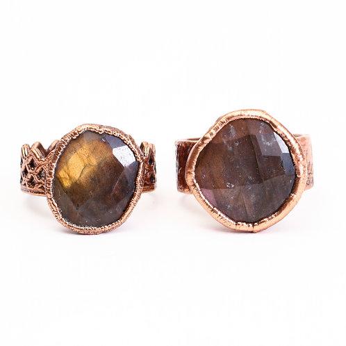 Copper Electroformed Colored Labradorite Ring