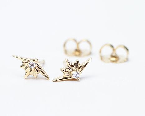 14K Yellow Gold Diamond Starburst Earrings