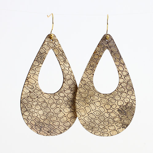 Large Susan Earrings - Teardrop Taupe Snakeskin