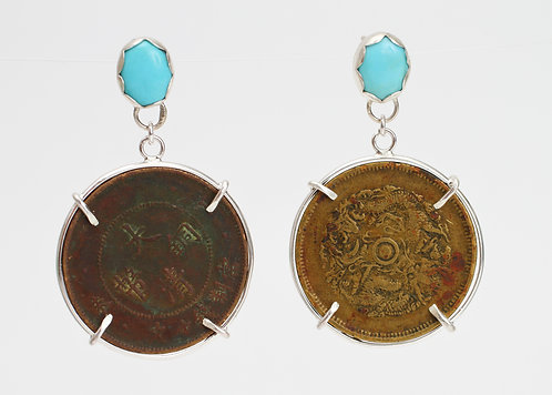 Sleeping Beauty Turquoise and Chinese Coin Earrings