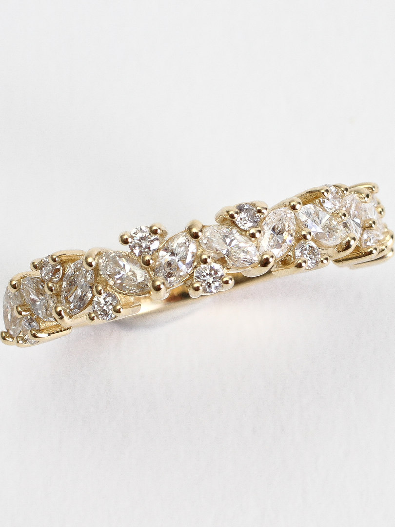 Marquise & Round Multi Diamond Wedding Band