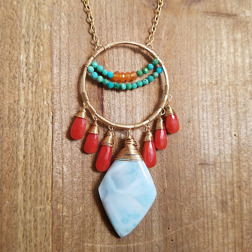Larimar, Coral, Turquoise, and Tangerine Carnelian Necklace