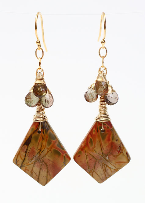 Wire Wrapped Kite Earrings with Red Creek Jasper and Zircon Gemstones