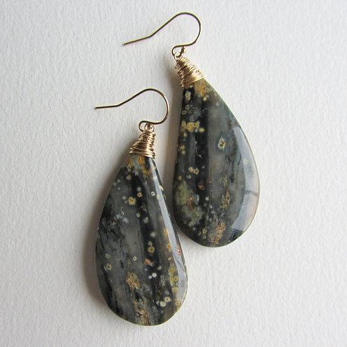 Gray Ocean Jasper Earrings