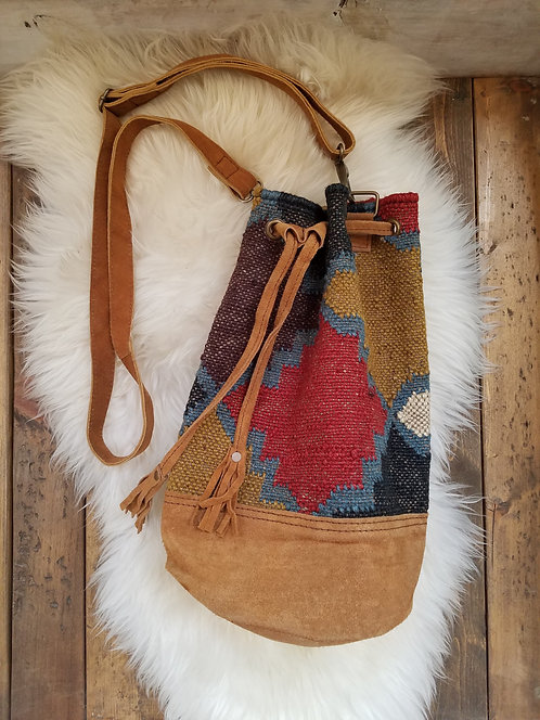 "Woven Jute Bucket Backpack with Suede Trim & Straps.  Size: 11"" x 14"""