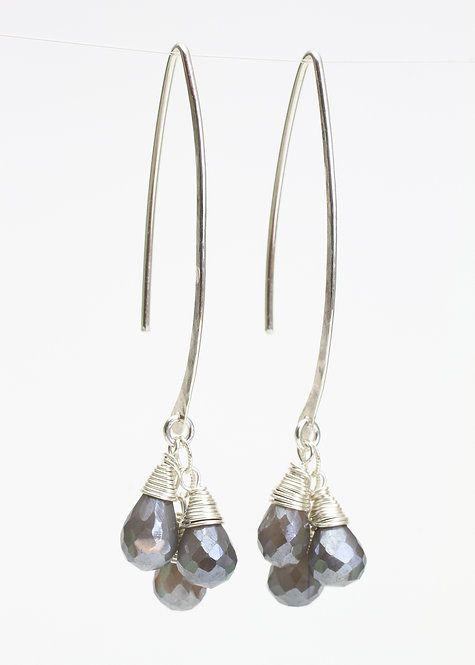Curved Bar Threader Earrings with Grey Moonstones