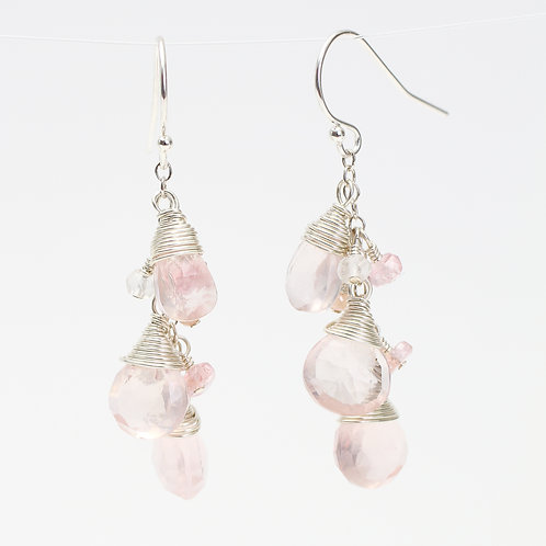 Earrings with Rose Quartz, Pink Sapphires & Pink Moonstones