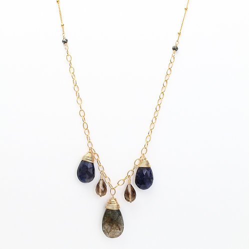 Accented Chain Necklace with Rutile and Smokey Quartz, Spectrolite, and Pyrite