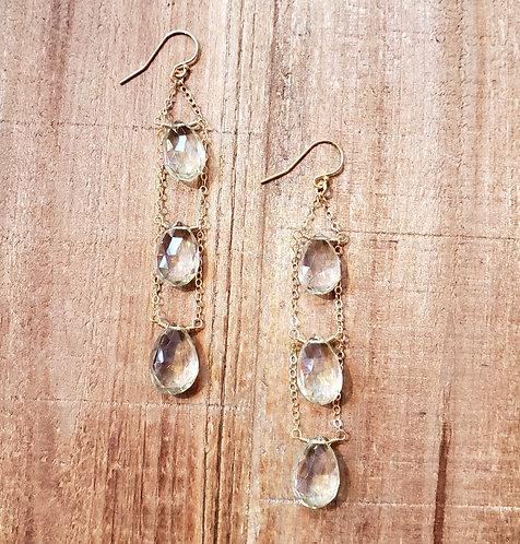 Green Amethyst Ladder Earrings