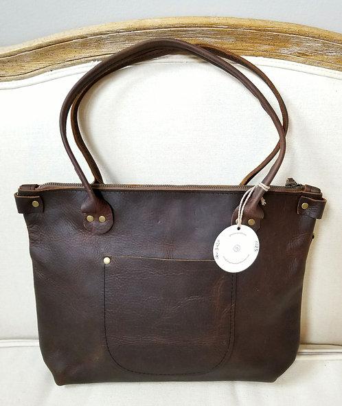 Dark Brown Short Leather Porter Handbag