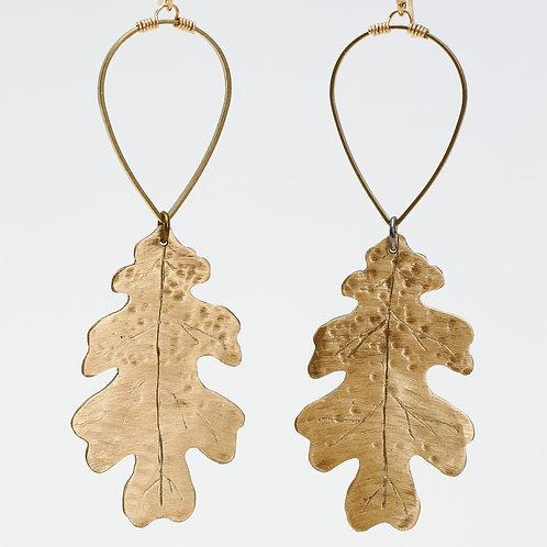 Brass Small Oak Leaf Earrings