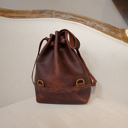 Convertible Drawstring Backpack • Brown Leather