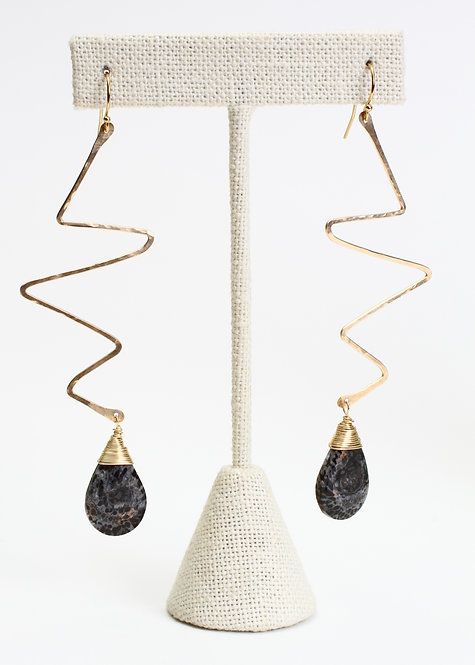 Yellow Gold Filled Hammered Zig Zag Earrings with Fossilized Coral