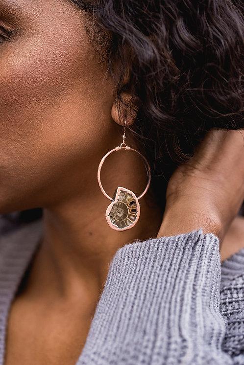 Small Ammonite Hoop Earrings