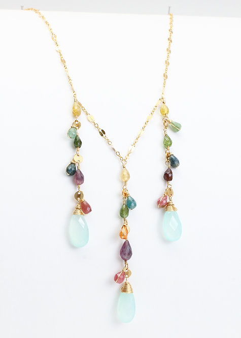 Statement Necklace w/ Multicolored Tourmalines & Mint Chalcedony