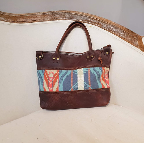 Pendleton Loretta - Brown Leather Bag - Coquille Blue Pattern