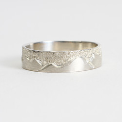 Hand Carved Mountain Wedding Band
