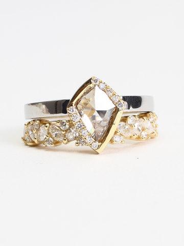 Champagne Diamond Engagment Ring Set